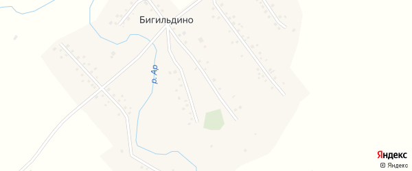 Октябрьская улица на карте деревни Бигильдино Башкортостана с номерами домов