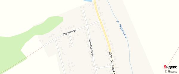 Школьная улица на карте села Черкасс Башкортостана с номерами домов