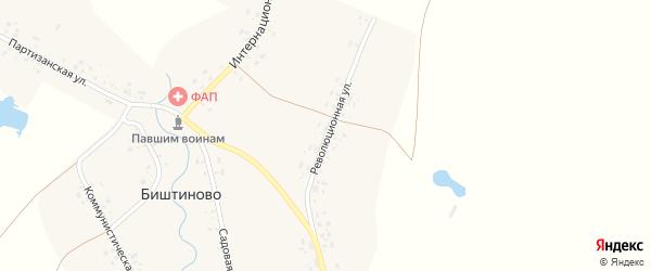 Революционная улица на карте деревни Биштиново с номерами домов