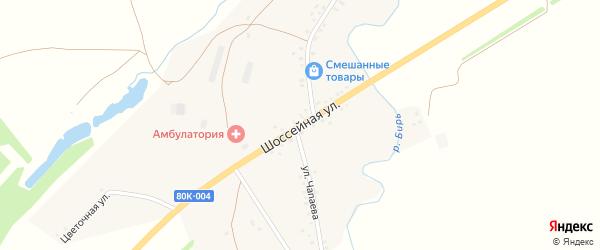 Шоссейная улица на карте деревни Рефанд с номерами домов