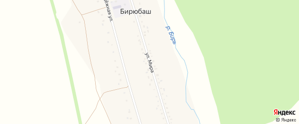 Улица Мира на карте деревни Бирюбаша с номерами домов