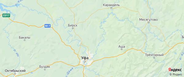 Карта Благовещенского района Республики Башкортостана с городами и населенными пунктами