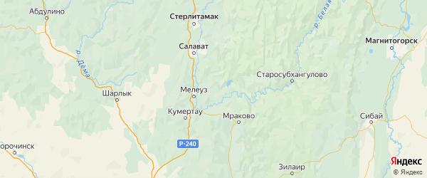 Карта Мелеузовского района Республики Башкортостана с городами и населенными пунктами