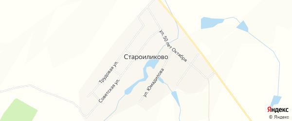 Карта села Староиликово в Башкортостане с улицами и номерами домов