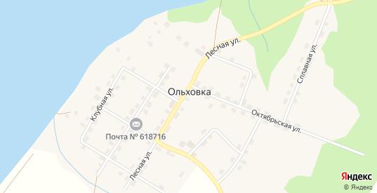 Рабочая улица в поселке Ольховка в Добрянке с номерами домов на карте. Спутник и схема онлайн