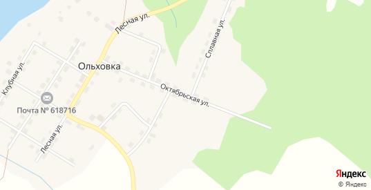 Октябрьская улица в поселке Ольховка в Добрянке с номерами домов на карте. Спутник и схема онлайн