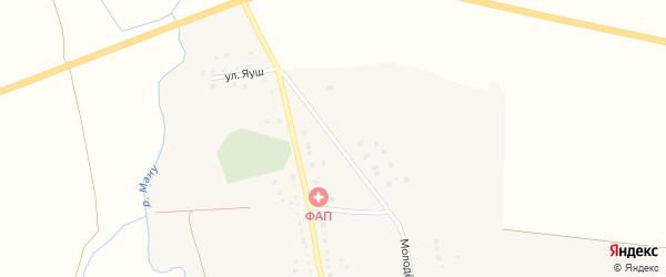 Молодежная улица на карте деревни Калдарово Башкортостана с номерами домов