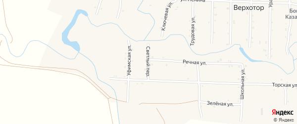 Светлый переулок на карте села Верхотора Башкортостана с номерами домов