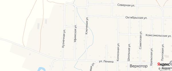 Ключевая улица на карте села Верхотора Башкортостана с номерами домов