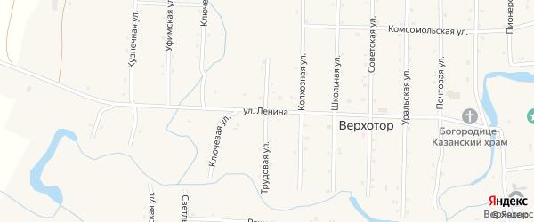 Улица Ленина на карте села Верхотора Башкортостана с номерами домов
