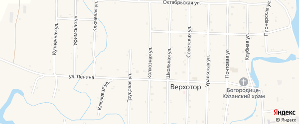 Колхозная улица на карте села Верхотора Башкортостана с номерами домов