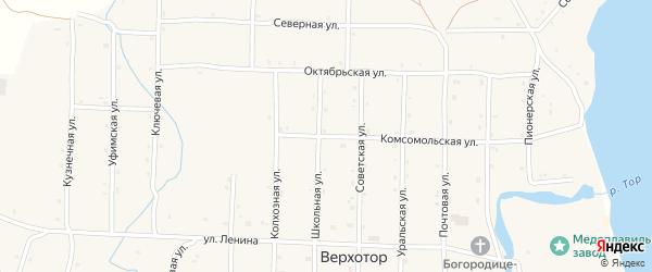 Комсомольская улица на карте села Верхотора Башкортостана с номерами домов
