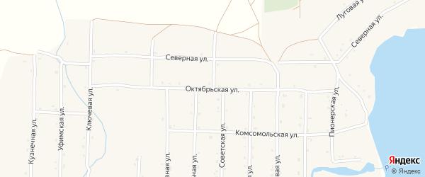 Октябрьская улица на карте села Верхотора Башкортостана с номерами домов