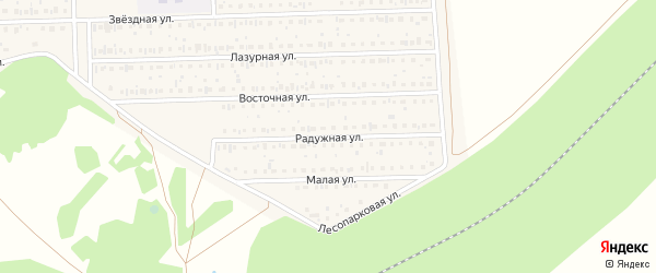 Радужная улица на карте деревни Дорогино с номерами домов