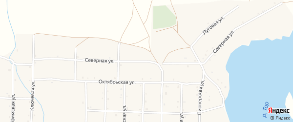 Северная улица на карте села Верхотора Башкортостана с номерами домов