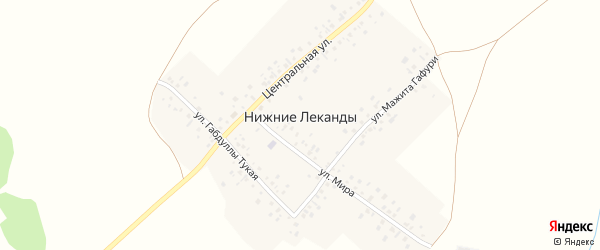 Улица Мажита Гафури на карте деревни Нижние Леканды с номерами домов