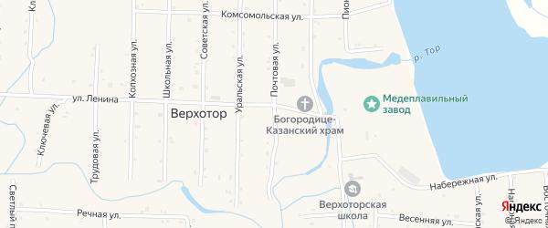 Почтовая улица на карте села Верхотора Башкортостана с номерами домов