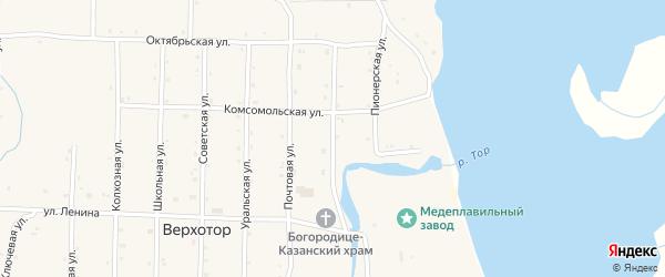 Клубная улица на карте села Верхотора Башкортостана с номерами домов