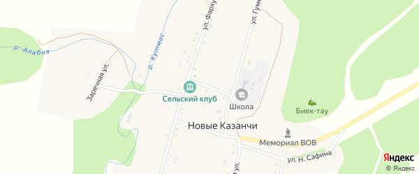 Школьная улица на карте деревни Новые Казанчи с номерами домов