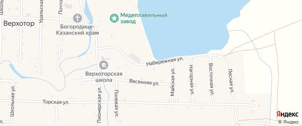 Набережная улица на карте села Верхотора Башкортостана с номерами домов