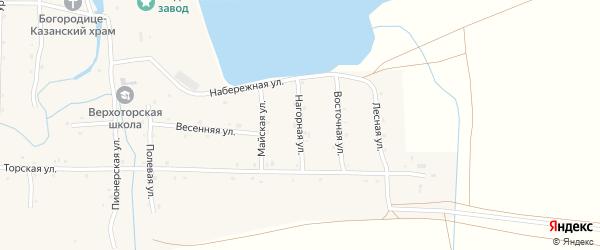Нагорная улица на карте села Верхотора Башкортостана с номерами домов