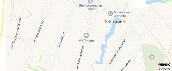 Садовая улица на карте села Янгискаина Башкортостана с номерами домов