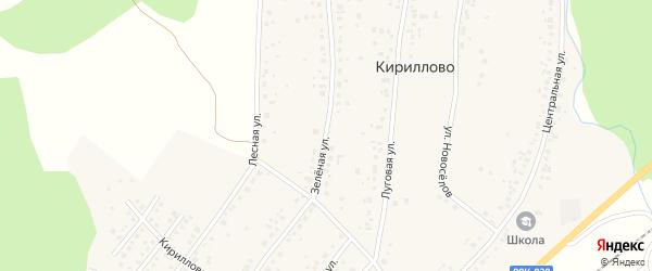 Зеленая улица на карте деревни Кириллово с номерами домов