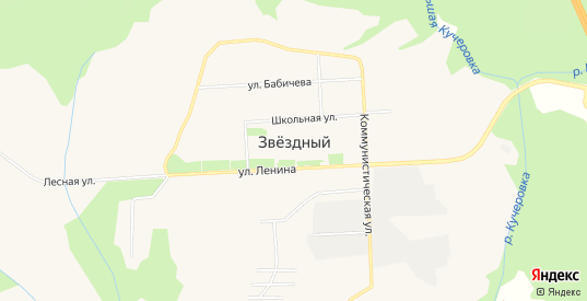 Карта поселка Звездный в Пермском крае с улицами, домами и почтовыми отделениями со спутника онлайн