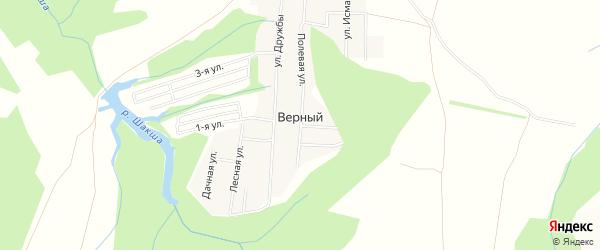 Карта деревни Верного в Башкортостане с улицами и номерами домов