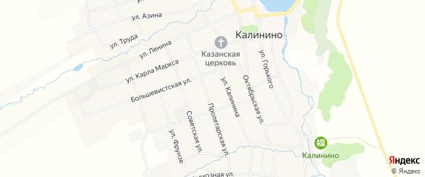 Карта села Калинино в Пермском крае с улицами и номерами домов