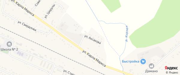 Улица Аксакова на карте деревни Улукулево с номерами домов