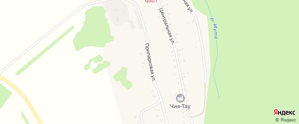Припарковая улица на карте деревни Муты-Елги с номерами домов