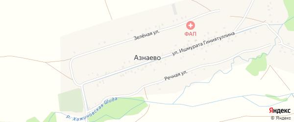 Улица Ишмурата Гиниятуллина на карте деревни Азнаево с номерами домов