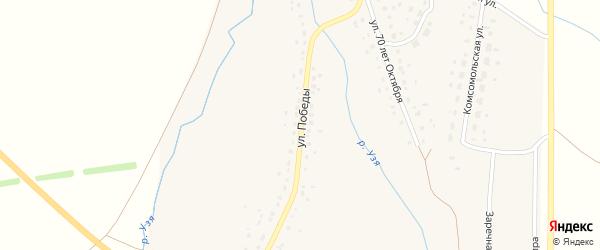 Улица Победы на карте деревни Воскресенского Башкортостана с номерами домов