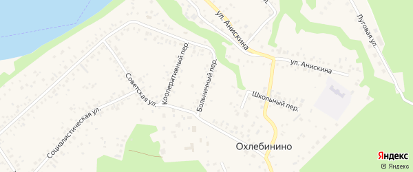 Больничный переулок на карте села Охлебинино Башкортостана с номерами домов