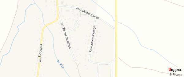 Комсомольская улица на карте деревни Воскресенского Башкортостана с номерами домов
