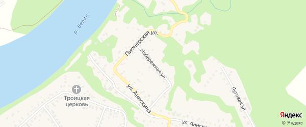 Набережная улица на карте села Охлебинино Башкортостана с номерами домов
