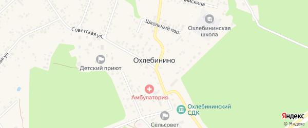 Переулок Мира на карте села Охлебинино Башкортостана с номерами домов
