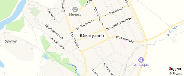 Карта села Юмагузино в Башкортостане с улицами и номерами домов