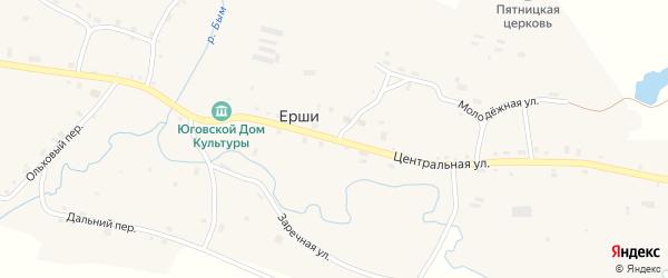 Центральная улица на карте деревни Нивино Пермского края с номерами домов