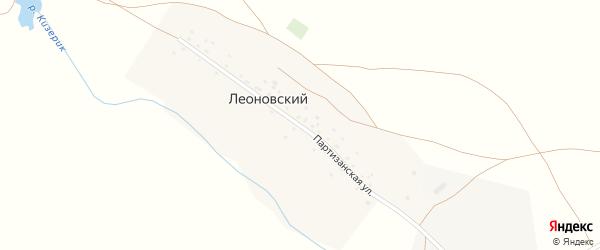 Партизанская улица на карте деревни Леоновского Башкортостана с номерами домов