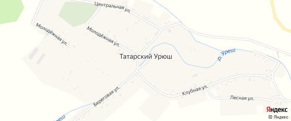 Береговая улица на карте деревни Татарского Урюша Башкортостана с номерами домов
