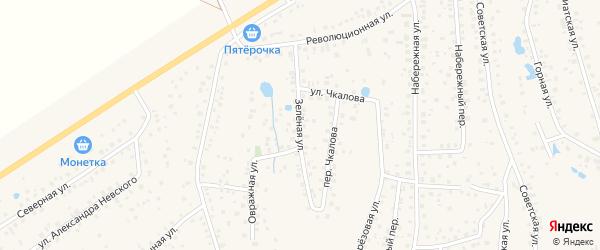 Зеленая улица на карте села Иглино с номерами домов