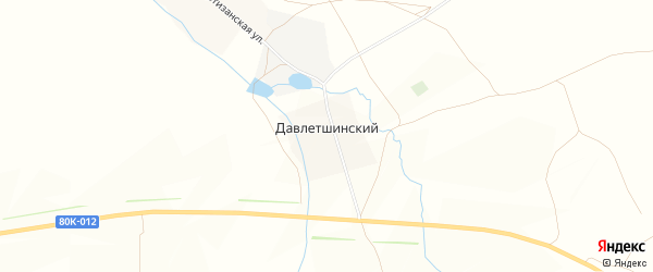 Карта деревни Давлетшинского в Башкортостане с улицами и номерами домов