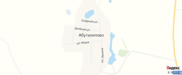 Карта деревни Абуталипово в Башкортостане с улицами и номерами домов