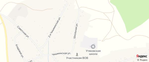 Школьная улица на карте села Утяково Башкортостана с номерами домов