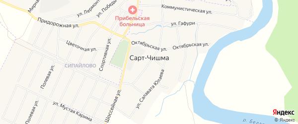 Карта села Сарта-Чишма в Башкортостане с улицами и номерами домов