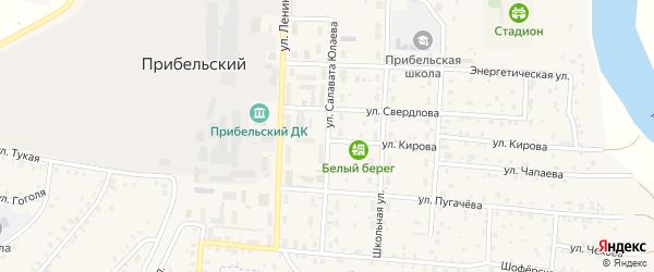 Улица С.Юлаева на карте села Прибельского с номерами домов