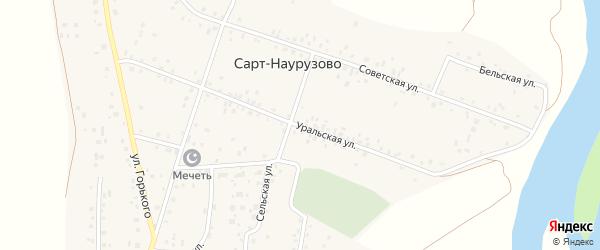 Уральская улица на карте деревни Сарт-Наурузово с номерами домов