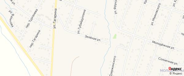 Зеленая улица на карте села Красноусольского Башкортостана с номерами домов